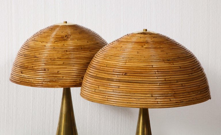 Mid-Century Modern Large Bamboo Pair of Table Lamps with Brass Bases