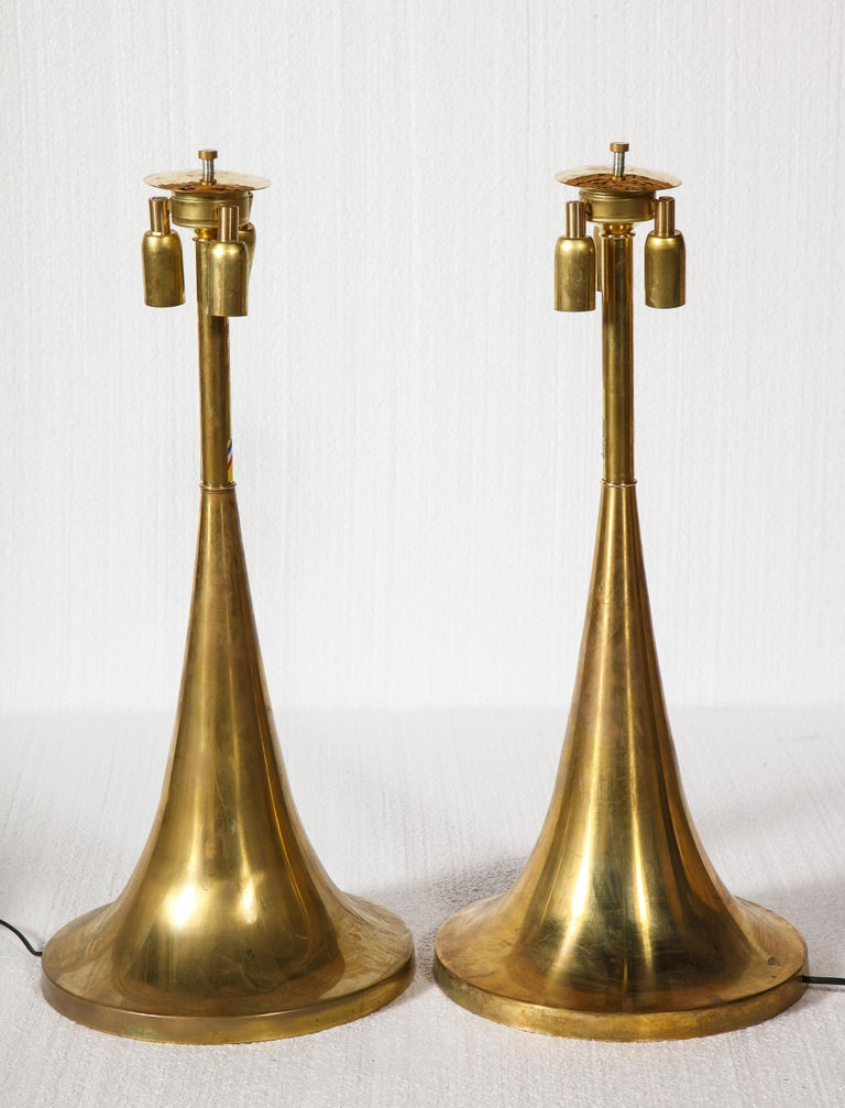 Large Bamboo Pair of Table Lamps with Brass Bases For Sale 1