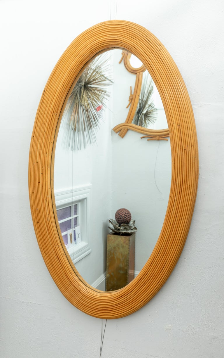 Mid-Century Modern Large Bamboo Reed Woven Oval Mirror For Sale