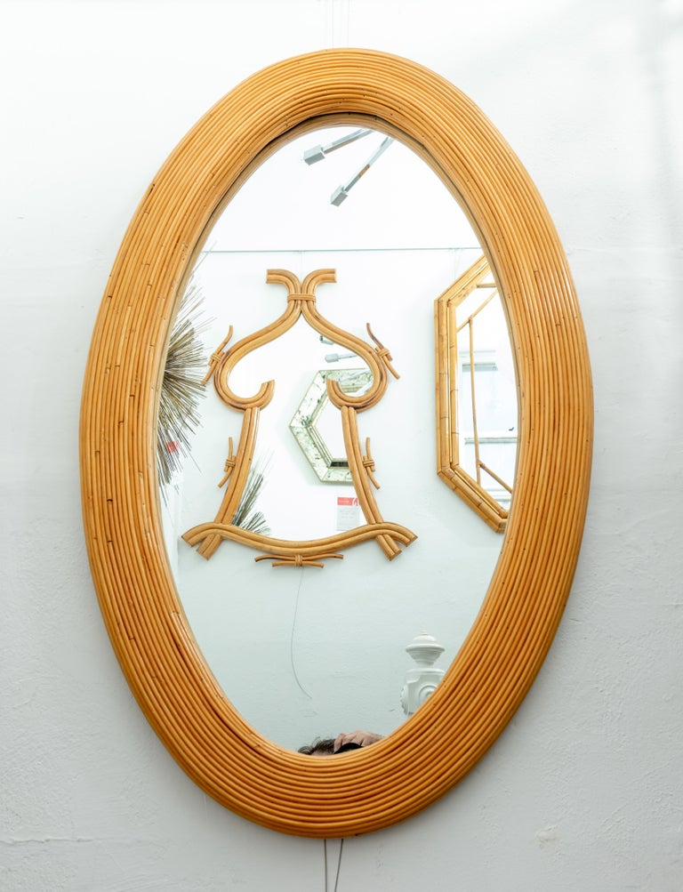 Italian Large Bamboo Reed Woven Oval Mirror For Sale