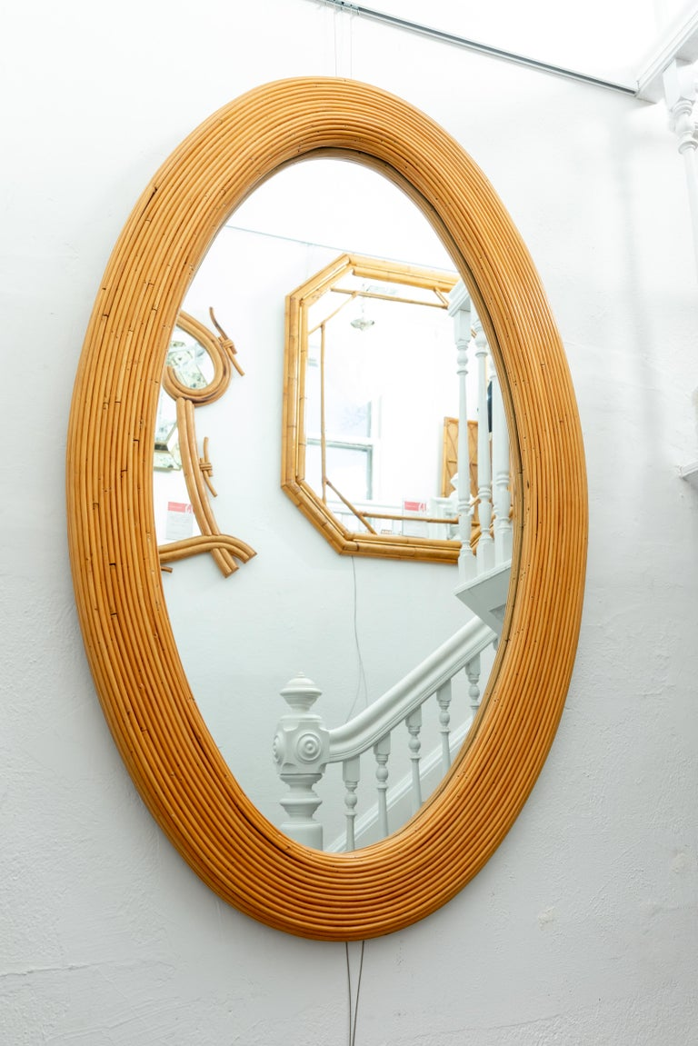 Hand-Woven Large Bamboo Reed Woven Oval Mirror For Sale