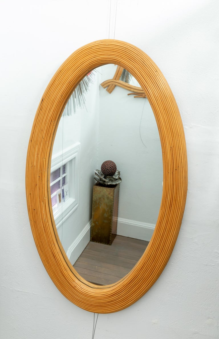Large Bamboo Reed Woven Oval Mirror In Good Condition For Sale In Bridgehampton, NY