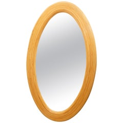 Large Bamboo Reed Woven Oval Mirror