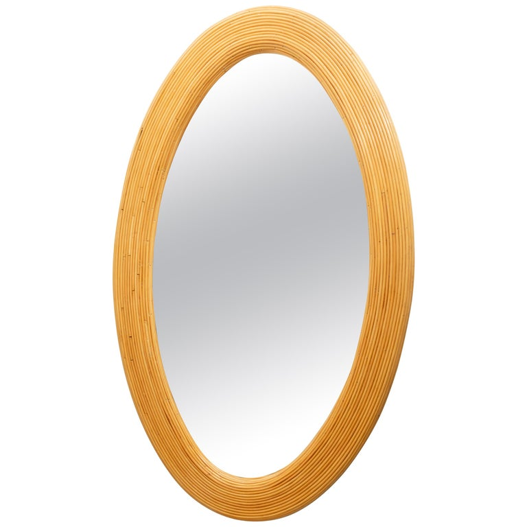 Large Bamboo Reed Woven Oval Mirror For Sale