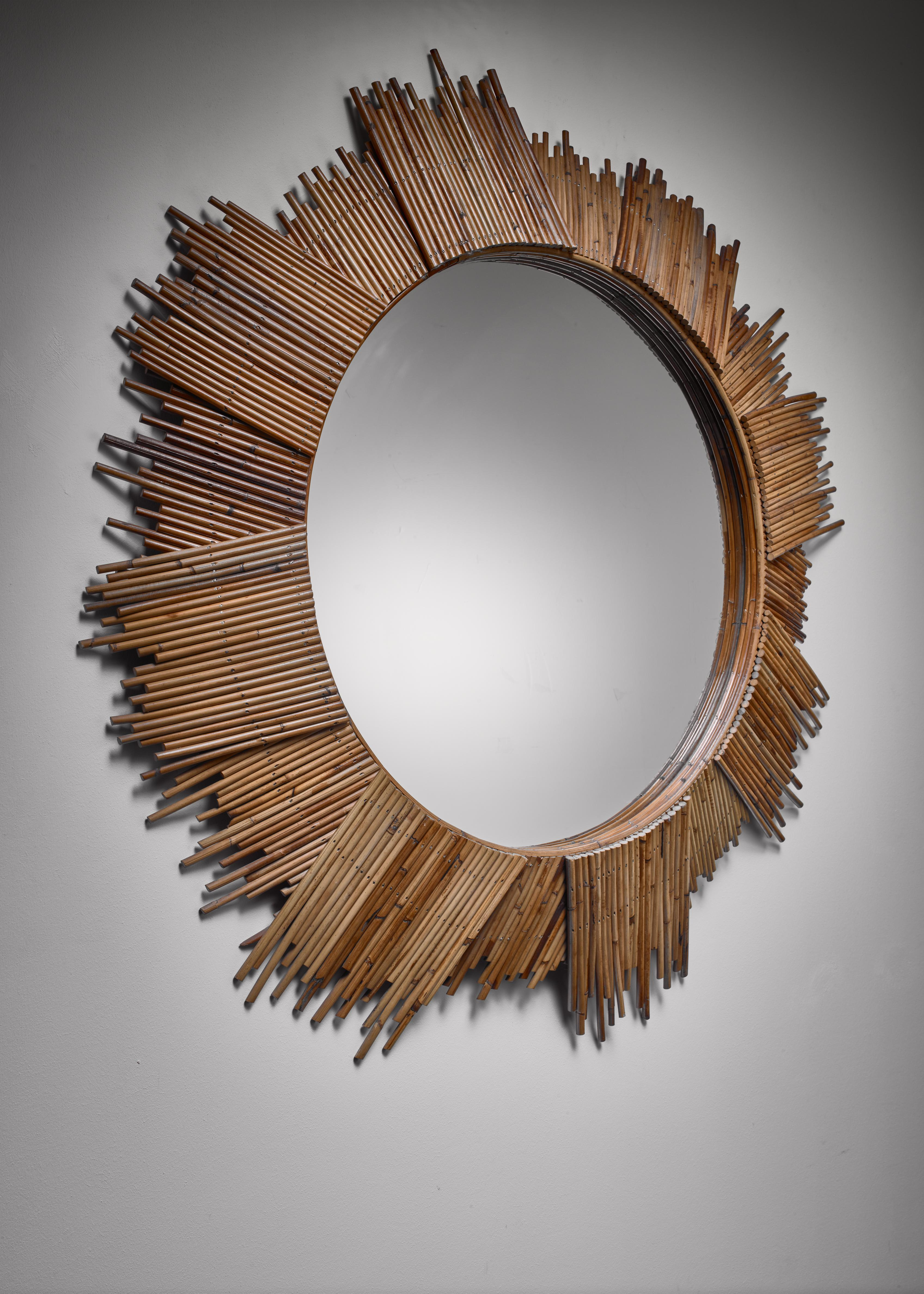 Large Bamboo Sunburst Wall Mirror For Sale At 1stdibs