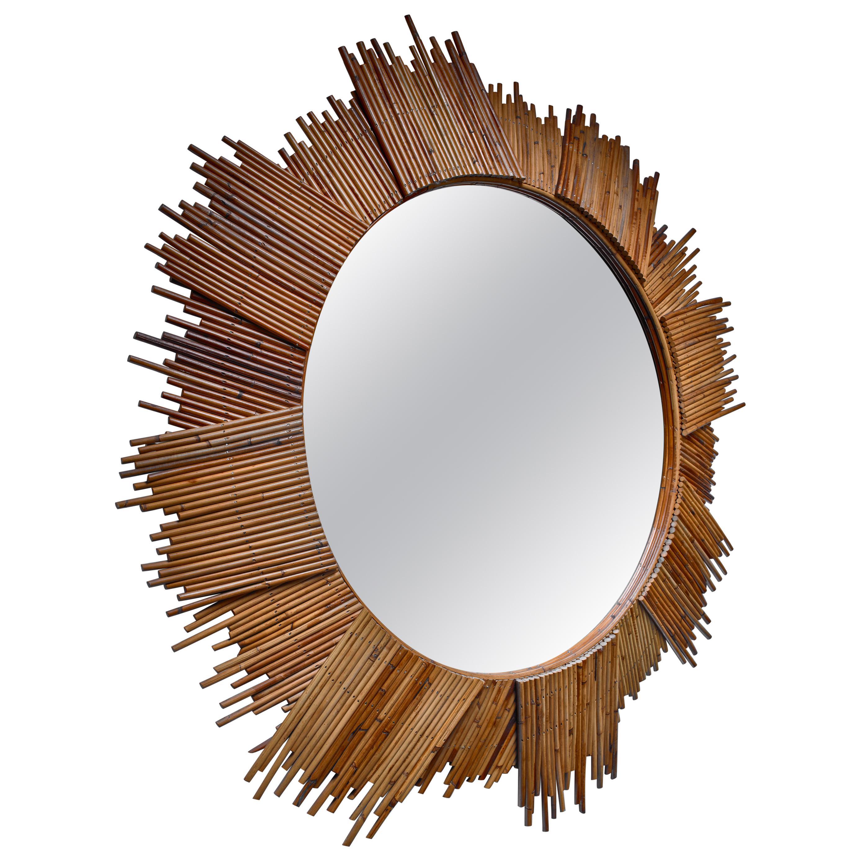 Large Bamboo Sunburst Wall Mirror
