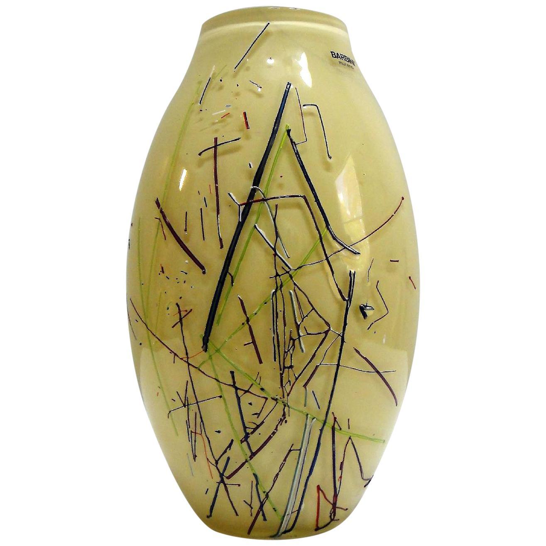 Large Barbini Murano Art Glass Vase