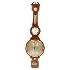 J Walden 1810-20 Mahogany Large clock Barometer Weather Measuring Instrument