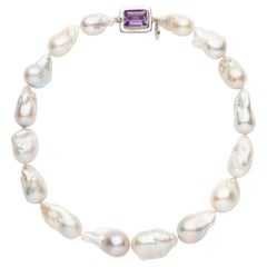 Large Baroque Freshwater Cultured Pearl and EC Amethyst Silver Clasp Necklace