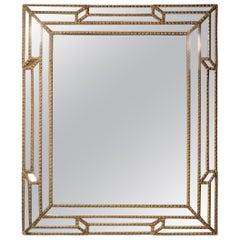 Large Baroque Italian Gilt Diamond Faceted Mirror