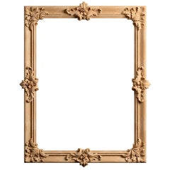 Large Baroque Ornate Carved Wood Wall Mirror from Oak or Beech