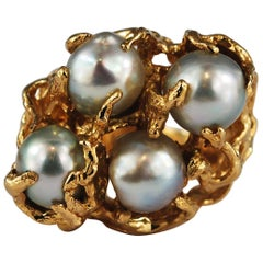 Large Baroque Pearl 14 Karat Gold Cocktail Ring Free Form Abstract