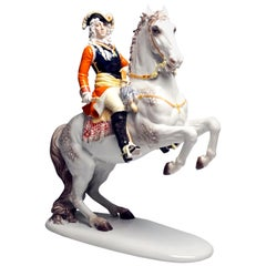 Large Baroque Rider Prince Eugen of Savoy on Horse, H. Meisel, Rosenthal Germany