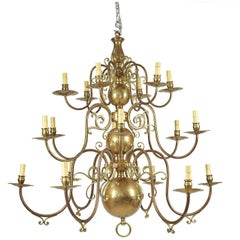 Large Baroque Style Brass Chandelier, England, circa 1920