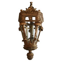 Large Baroque Style Lantern Chandelier in Carved Giltwood