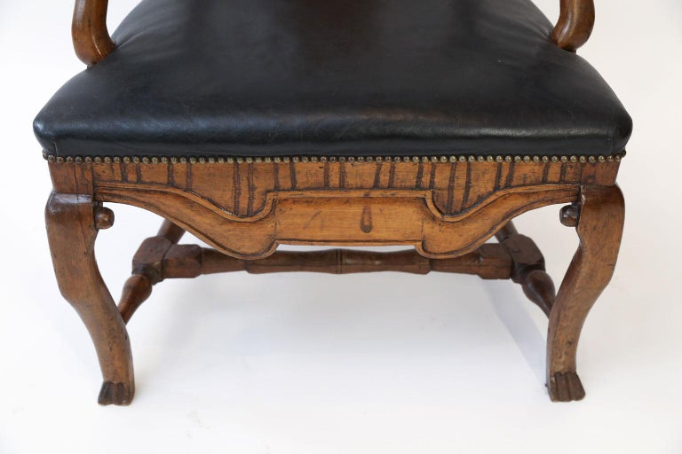 Wood Large Baroque Swedish Armchair For Sale