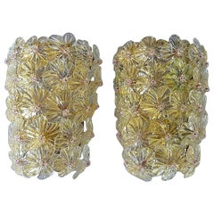 Large Barovier Toso Sconces Murano Glass Flowers Gold Mauve, Italy 1960s, Seguso