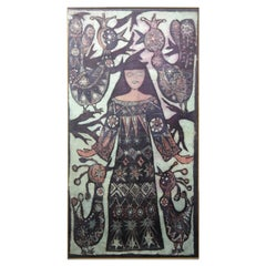 Large Batik Painting Portraying a Woman Surrounded with Birds, 1970s