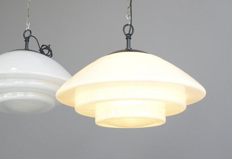German Large Bauhaus Pendant Lights by Mithras, circa 1930s For Sale