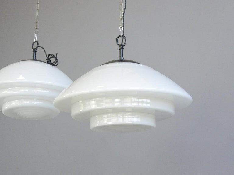 Mid-20th Century Large Bauhaus Pendant Lights by Mithras, circa 1930s For Sale