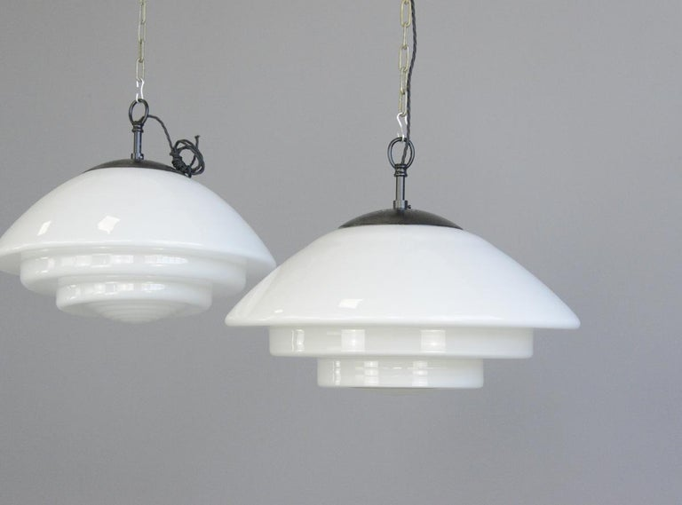 Large Bauhaus Pendant Lights by Mithras, circa 1930s For Sale 1