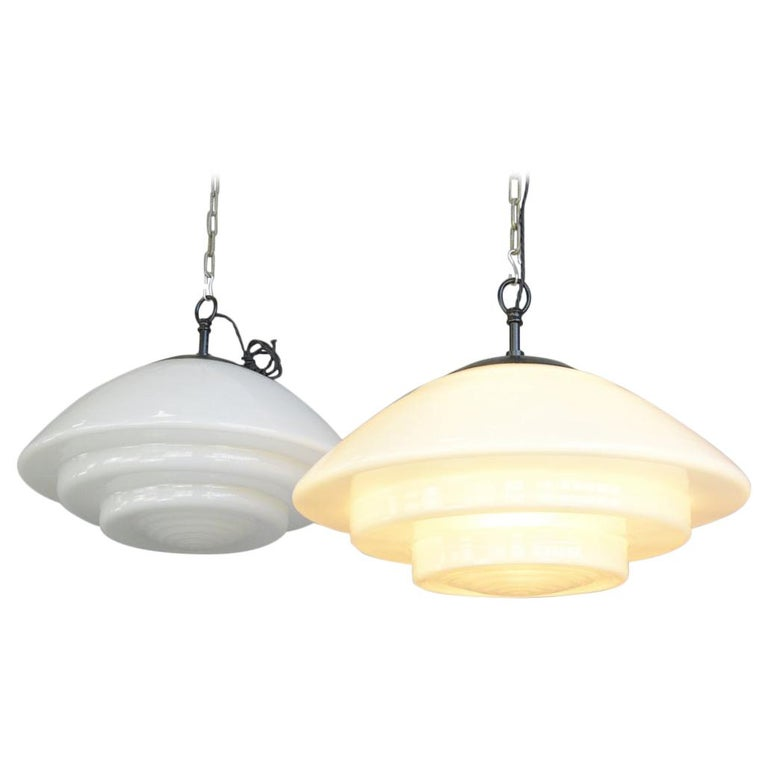 Large Bauhaus Pendant Lights by Mithras, circa 1930s For Sale