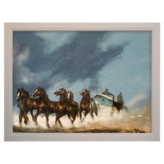 Large Beach Landscape Painting, Horses, Marine, Art, Original