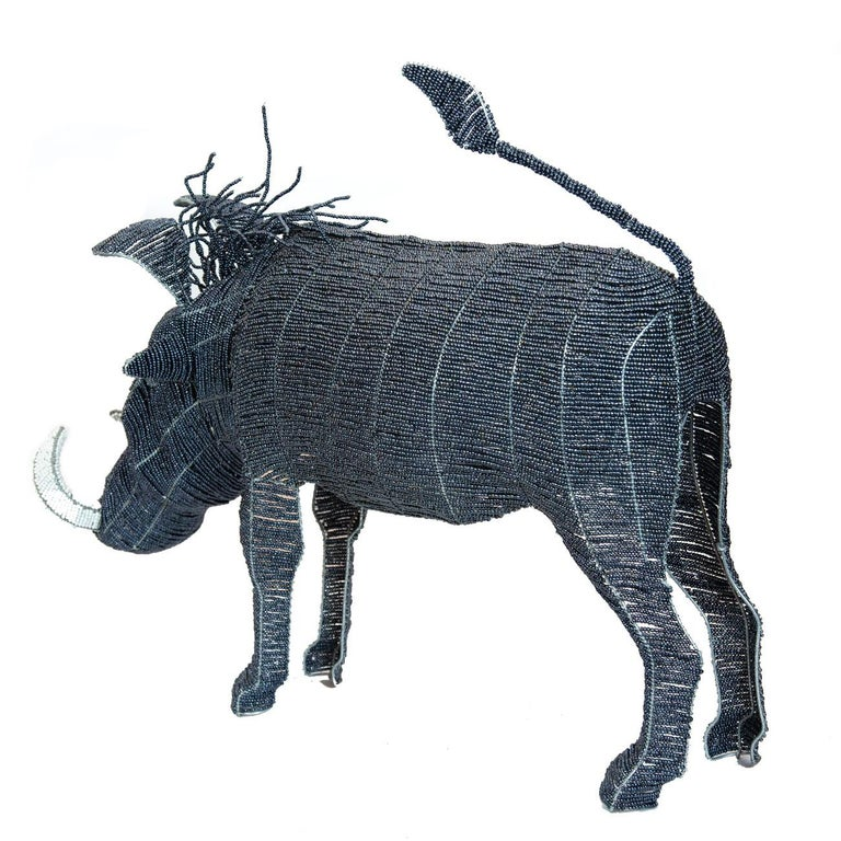 Large Beaded African Warthog For Sale 1