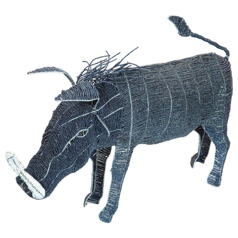 Large Beaded African Warthog For Sale