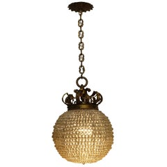 Large Beaded Hanging Ball Pendant Light Fixture, American, circa 1920