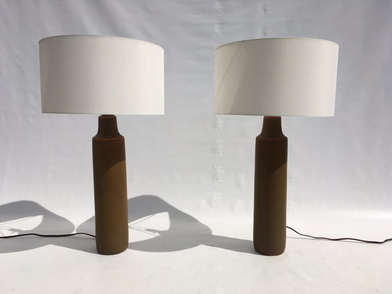Large Beautiful Ceramic Tables Lamps with Shades, USA, 1950s For Sale 6