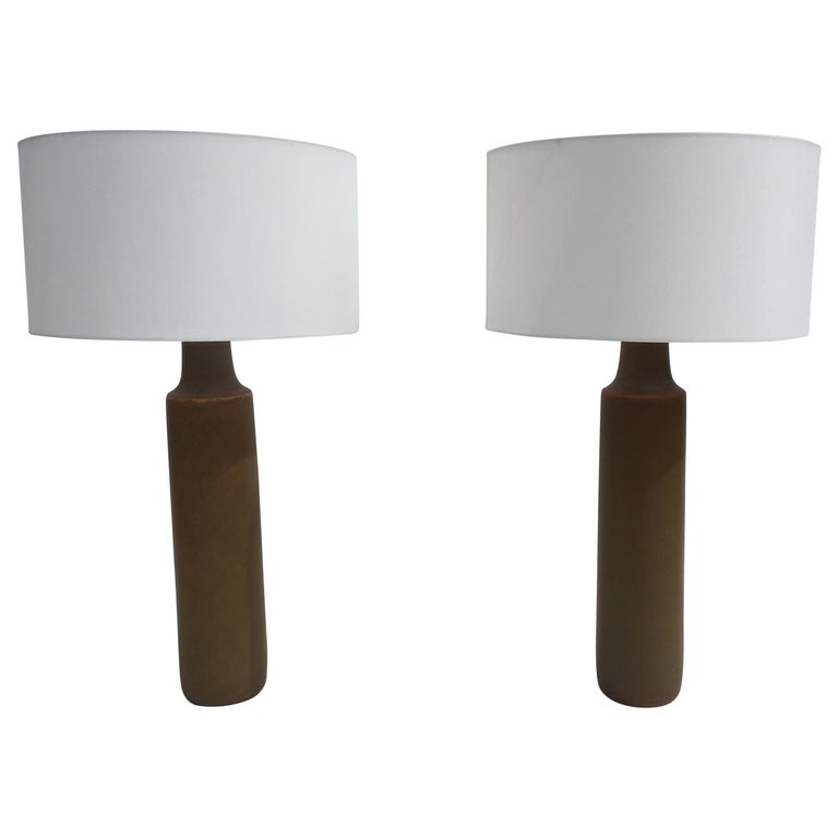 Large Beautiful Ceramic Tables Lamps with Shades, USA, 1950s For Sale