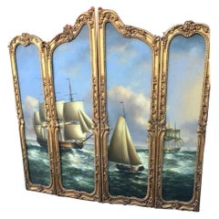 Large Beautiful Gilded French Four-Panel Screen Nautical Painting, 19th Century