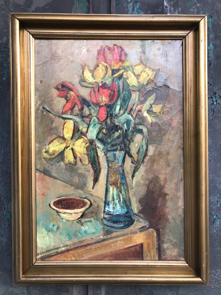 Large beautiful oil on canvas of a flower setup by Ludvig Jacobsen from 1936.