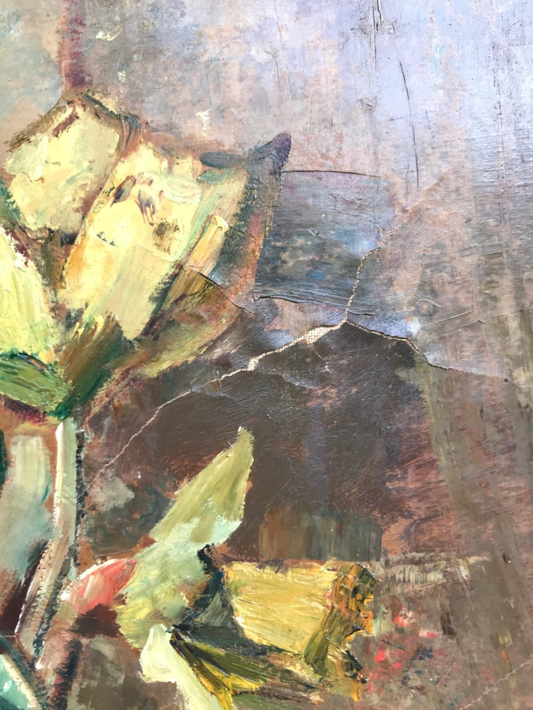 Large Beautiful Oil on Canvas of a Flower Setup from 1936 by Ludvig Jacobsen In Good Condition For Sale In Søborg, DK