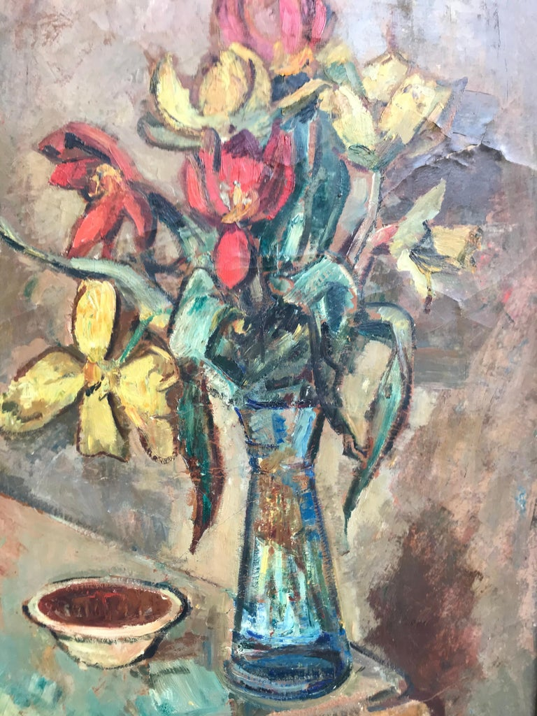 Large Beautiful Oil on Canvas of a Flower Setup from 1936 by Ludvig Jacobsen For Sale 1