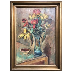 Large Beautiful Oil on Canvas of a Flower Setup from 1936 by Ludvig Jacobsen