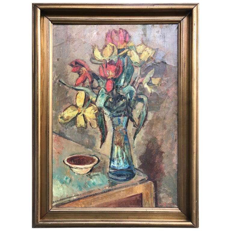 Large Beautiful Oil on Canvas of a Flower Setup from 1936 by Ludvig Jacobsen For Sale