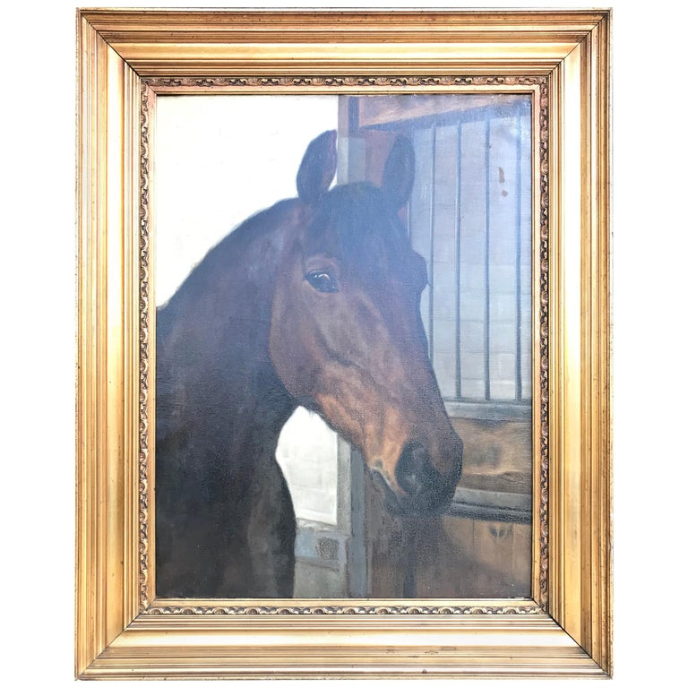 Large Beautiful Oil on Canvas of a Horse Portrait by Hans Christian Caspersen For Sale
