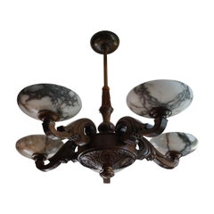 Large & Beautifully Hand Carved Wooden Chandelier with Striking Alabaster Shades