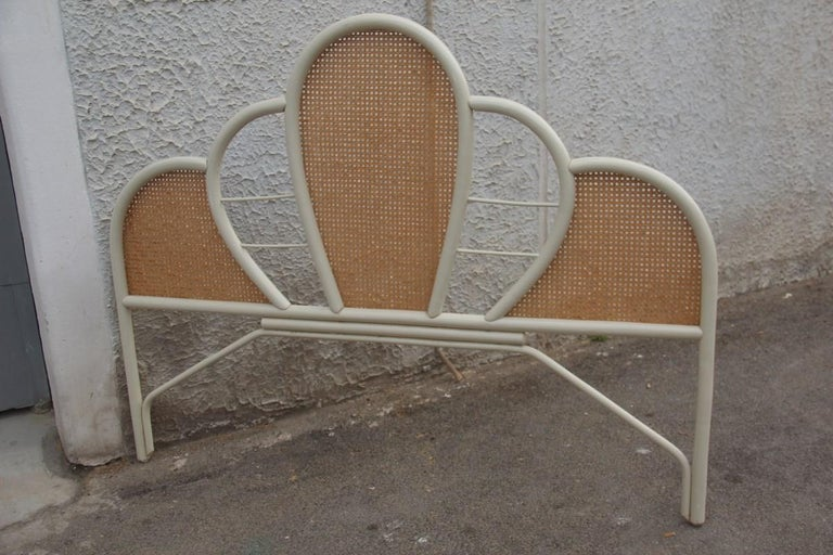 Large Bed Headboard in White Lacquered Bamboo and Vienna Straw, 1970, Italian For Sale 6