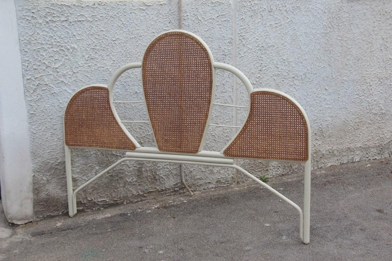 Late 20th Century Large Bed Headboard in White Lacquered Bamboo and Vienna Straw, 1970, Italian For Sale