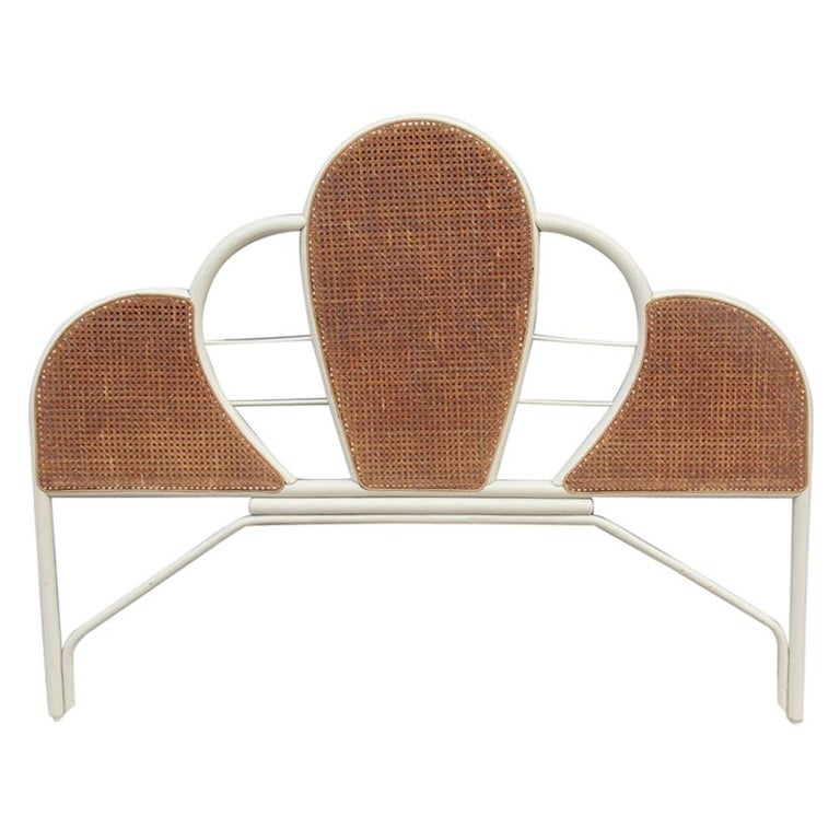 Large Bed Headboard in White Lacquered Bamboo and Vienna Straw, 1970, Italian For Sale