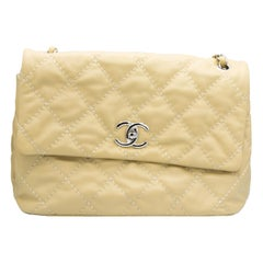 Large Beige Leather Chanel Handbag with Original Tags