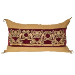 Large Beige Linen Pillow with Burgundy Velvet & Antique Metallic Embroidery