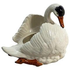 Large Belgian Figurative Swan Planter or Vase
