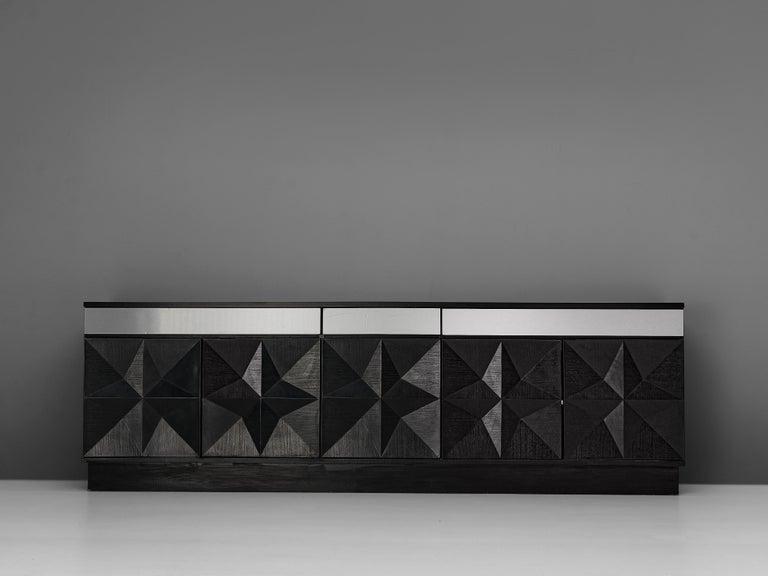 Post-Modern Large Belgian Sideboard in Black Oak and Metal Details