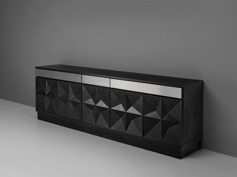 Large Belgian Sideboard in Black Oak and Metal Details In Good Condition In Waalwijk, NL