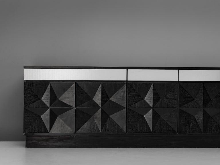 Aluminum Large Belgian Sideboard in Black Oak and Metal Details