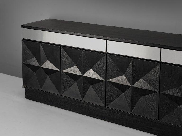 Large Belgian Sideboard in Black Oak and Metal Details 1